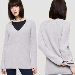 Lou & Grey Ribbed Tunic Sweater White Medium